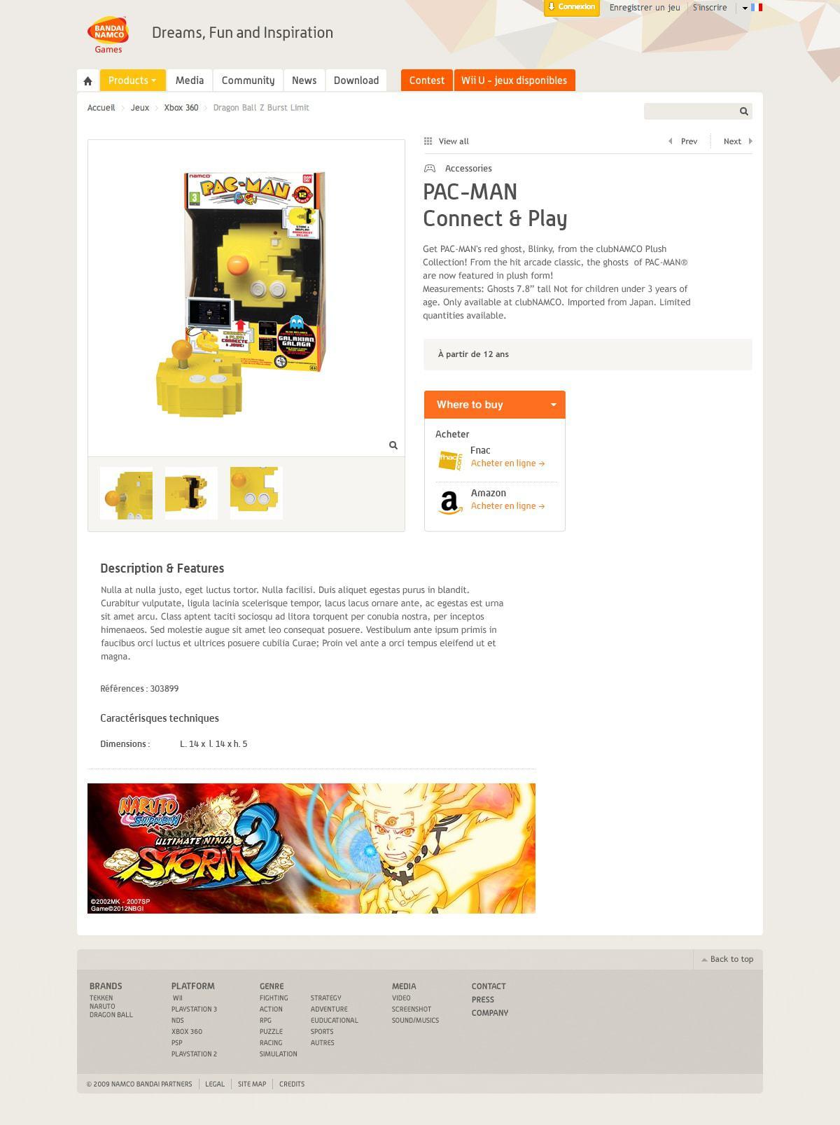 Namco Bandai Games site institutionnel